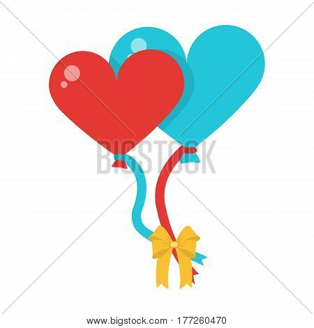 Large inable balls of the bride and groom for a wedding in the form of hearts.Wedding single icon in cartoon style vector symbol stock web illustration.