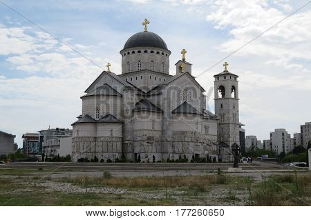 Big white stone christianity cathedral in Montenegro