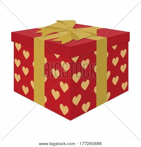 Opened gift box, surprise concept.Gift to the bride and groom for the wedding from guests and loved ones. Boxes in beautiful paper.Wedding single icon in cartoon style vector symbol stock web illustration.