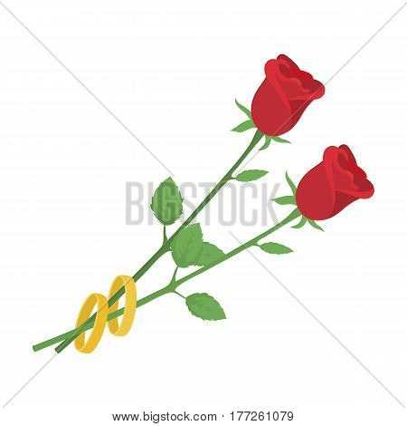 Rose gift for the wedding. A beautiful flower on the leg.Wedding single icon in cartoon style vector symbol stock web illustration.