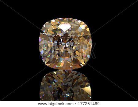 Diamond on Black Background.Fashion luxury accessories. Jewelry background. 3D illustration