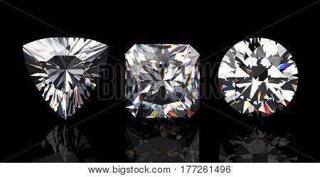 Diamonds set twelve shape on Black Background.Fashion luxury accessories. Jewelry background. 3D illustration