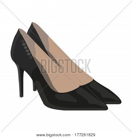 Women s leather shoes with heels. Casual shoes for women dress. Woman clothes single icon in cartoon style vector symbol stock web illustration.