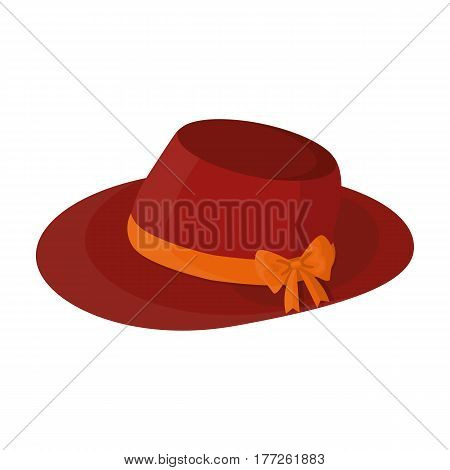 Red female hat with a bow. Summer hat for adult women.  Woman clothes single icon in cartoon style vector symbol stock web illustration.