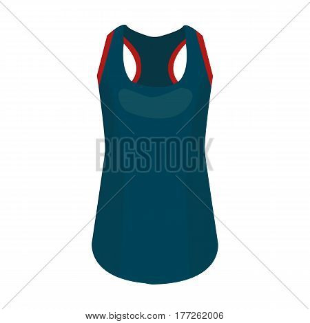 Blue Sports Women s T-shirt. sports clothes. Woman clothes single icon in cartoon style vector symbol stock web illustration.