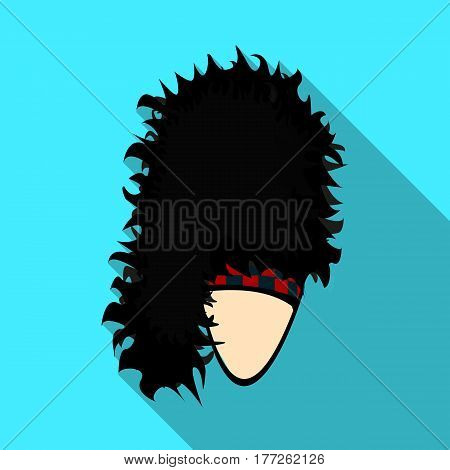 Mask with hair for the Scot.The Scottish national symbol.Scotland single icon in flat style vector symbol stock web illustration.