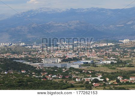 Green fields in suburban area of Bar-city, Montenegro