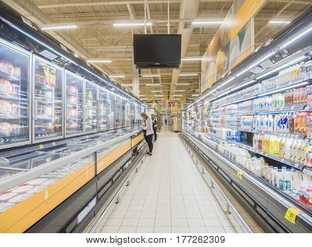 BANGKOK, THAILAND - MARCH 8,2017 : inside Big C Extra hypermarket. It offers a wider range of premium fresh and dry food items, imported products, and wine than a Big C Supercenter.