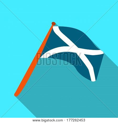 Scotland flag on a wooden stick.The Scottish national flag.Scotland single icon in flat style vector symbol stock web illustration.