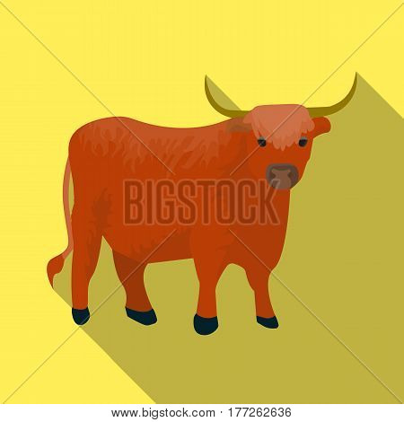Brown bull with horns.Mountain bull is a symbol of Scotland.Scotland single icon in flat style vector symbol stock web illustration.