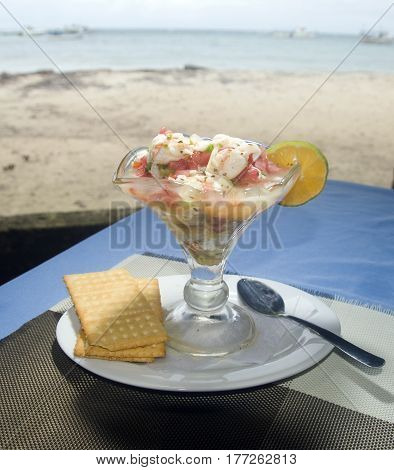 lobster ceviche as photographed in Big Corn Island Nicaragua by Caribbean beach