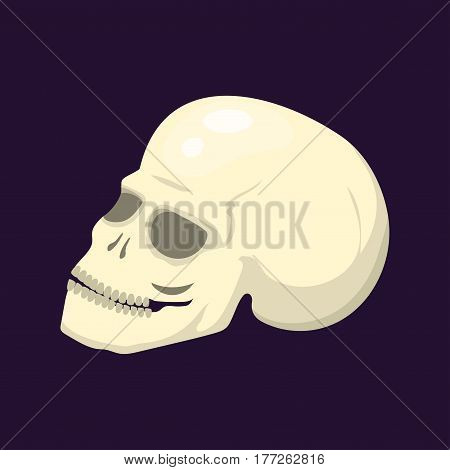 Style skull face halloween horror style tattoo anatomy art cartoon decoration gothic human skeleton symbol dead evil sign vector illustration. Gothic spooky magic cartoon icon