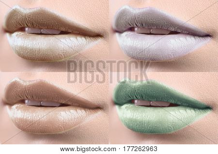 Summer shades. Set of close up shots of lips of a woman with lipstick on lip gloss cosmetics beauty plump full fillers augmentation beauty face sexy hot seductive tempting concept