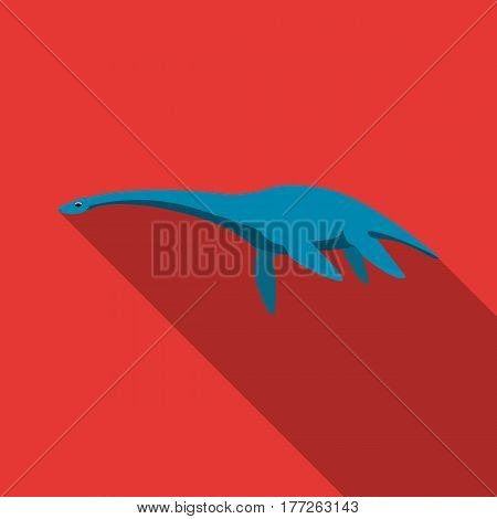 Blue Loch ness monster.The monster of lake Loch ness in Scotland.Scotland single icon in flat style vector symbol stock web illustration.