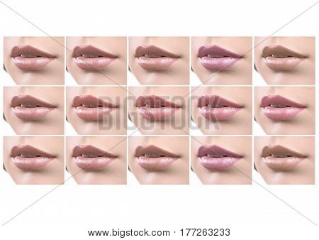 Set of female lips covered with nude natural colored lipsticks isolated on white copyspace makeup visage beauty cosmetics fashion mouth sexy seductive sensual softness concept