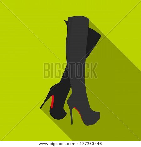 Leather high-heeled women sexy shoes.     Woman clothes single icon in flat style vector symbol stock web illustration.