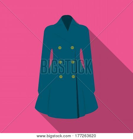 Blue female restrained coat buttoned. Women s outerwear. Woman clothes single icon in flat style vector symbol stock web illustration.