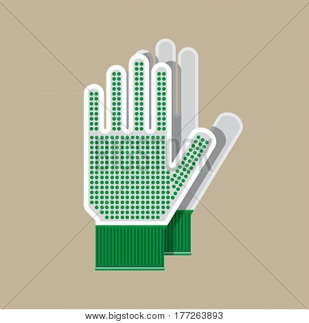 Cloth gloves. Gloves for gardening and garden. Work and protective equipment. Vector illustration in flat style
