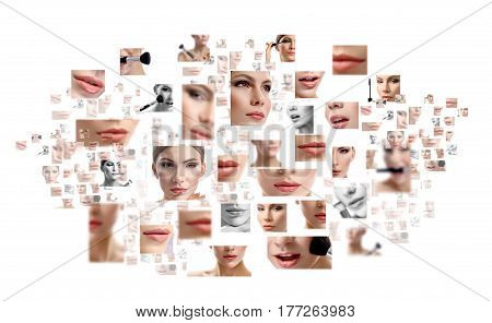 Natural stunner. Composite shot of many pictures of female face and facial parts isolated on white copyspace beauty fashion cosmetology spa skincare healthy model concept
