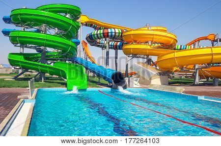 Aquapark sliders with pool in the park