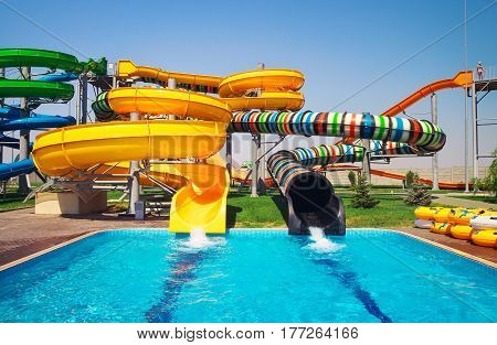 Aquapark sliders, aqua park with pool, water park.