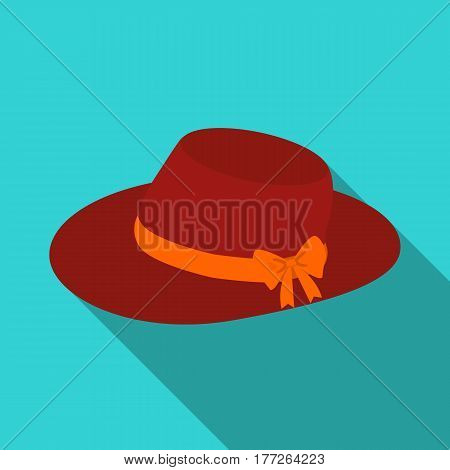 Red female hat with a bow. Summer hat for adult women.  Woman clothes single icon in flat style vector symbol stock web illustration.