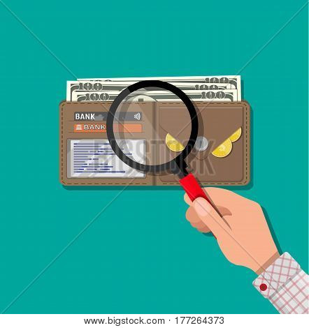Hand with magnifying glass and leather wallet with dollar cash, coins, bank cards. Check the financial stability. Vector illustration in flat style