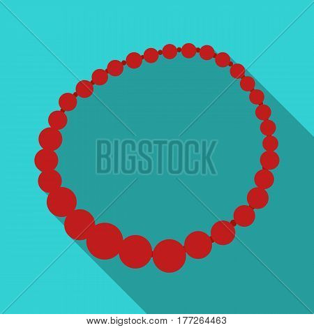 Red female necklace of precious stones. Dressing for women under the dress.  Woman clothes single icon in flat style vector symbol stock web illustration.