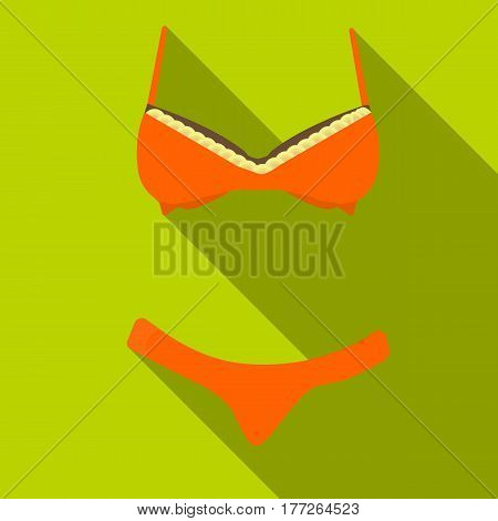 Bra and panties brown for women. Female swimsuit. Underwear .  Woman clothes single icon in flat style vector symbol stock web illustration.