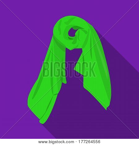 Red silk woman s scarf. Female an accessory scarf. Woman clothes single icon in flat style vector symbol stock web illustration.