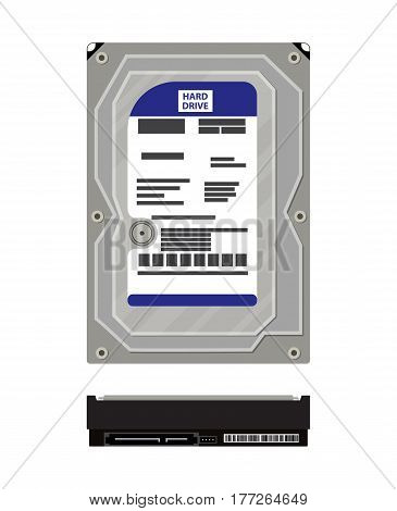 Hard drive side and top view isolated on white. PC hardware. Components for personal computer. Disk icon. Vector illustration in flat style