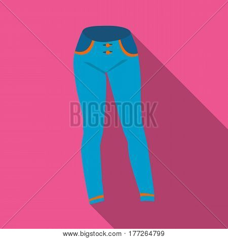 Blue women s jeans. Casual jeans comfortable clothing for women. Woman clothes single icon in flat style vector symbol stock web illustration.