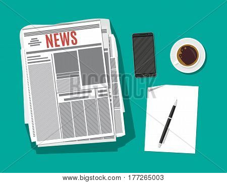 Newspaper, smartphone, paper blank with pen and coffee cup. Vector illustration in flat style