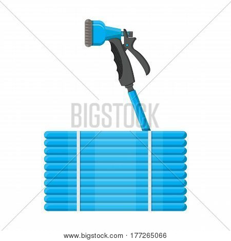 Convoluted garden hose. Watering hosepipe gun. Gardening tools. Vector illustration in flat style