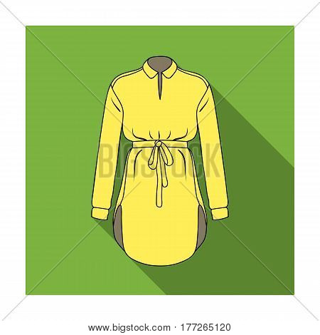 Women s shirt with a belt for housework. A dirty white apron for women.Women clothing single icon in flat style vector symbol stock web illustration.