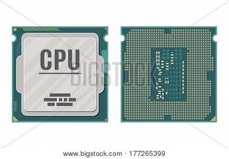Computer processor isolated on white. PC hardware. Components for personal computer. CPU icon. Vector illustration in flat style