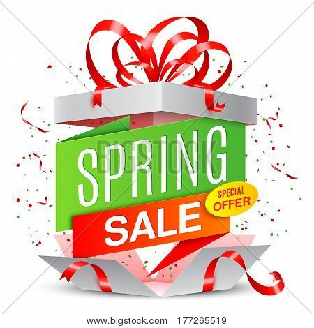 Opened gift box with spring sale banner inside. Sale and discounts announcement