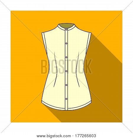 Beige button-down shirt without sleeves for the girl. Casual dress style.Women clothing single icon in flat style vector symbol stock web illustration.