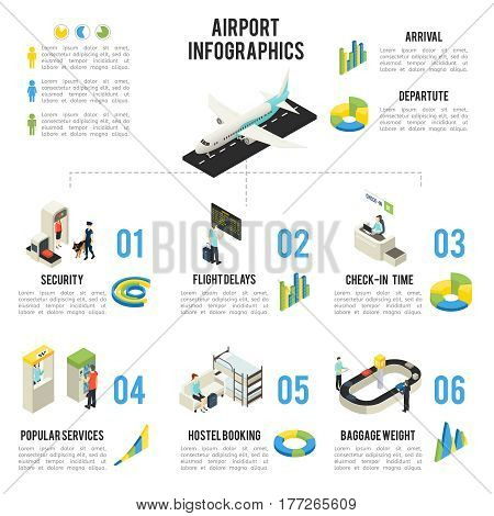 Isometric airport infographic concept with people airplane departure terminal halls zones objects and diagrams vector illustration