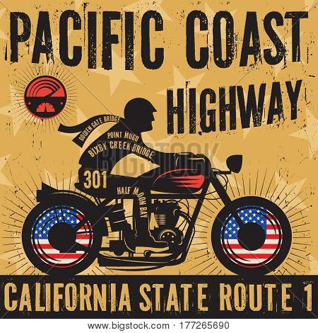 Biker riding a motorcycle poster with text Pacific Coast Highway California. Bikers event or festival emblem. Vector illustration