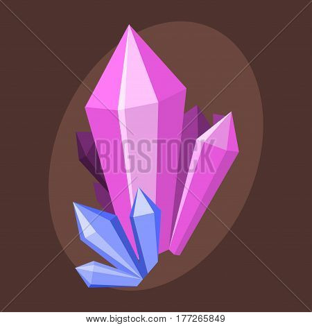 Magic crystals nature gem geology precious jewelry element and mineral rock stone natural quartz treasure gemstone diamond design vector illustration. Beautiful pink sparkle amethyst symbol.