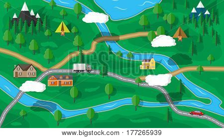 Suburban map with houses with car, trees, road, river, mountain, sky and clouds. Village. Vector illustration in flat style