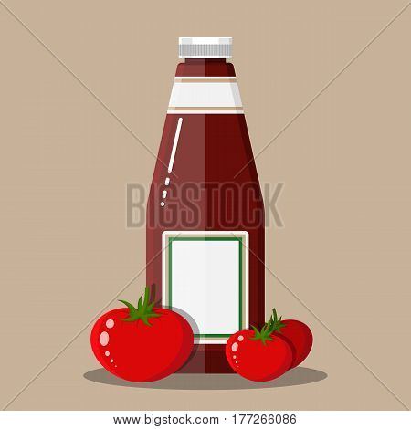 Glass bottle of traditional tomato ketchup and tomato vegetables. Bottle of sauce. Vector illustration in flat style