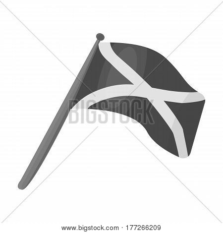 Scotland flag on a wooden stick.The Scottish national flag.Scotland single icon in monochrome style vector symbol stock web illustration.
