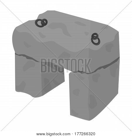 The stone seat.Ancient chair ancient Scots. Scotland country symbol .Scotland single icon in monochrome style vector symbol stock web illustration.
