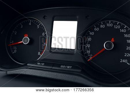 Modern car dashboard display close up, insert an image