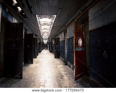 Corridor of an abandon prison in South America