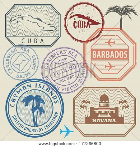 Travel stamps set Caribbean Sea theme vector illustration