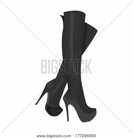 Leather high-heeled women sexy shoes.     Woman clothes single icon in monochrome style vector symbol stock web illustration.