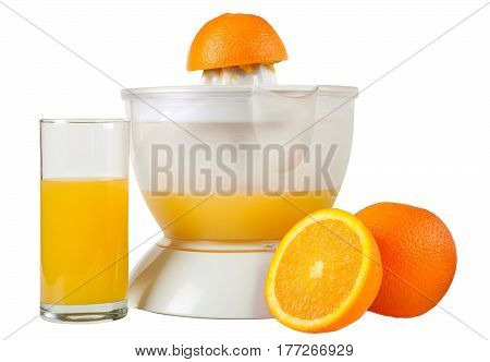 Oranges juice extractor and glass of juice isolated on white